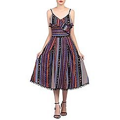 Jolie Moi - Navy spaghetti straped frilly dress