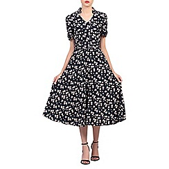 Jolie Moi - Navy floral print short sleeved 50s tea dress