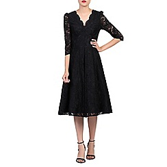 Jolie Moi - Black 3/4 sleeves lace prom dress