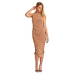 Be Jealous - Camel high neck ruched midi dress