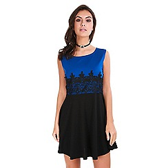Be Jealous - Blue lace detail skater dress