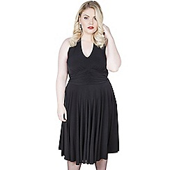 Emily - Black marilyn halter neck jersey dress
