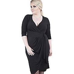 Emily - Black isabella jersey curve wrap dress