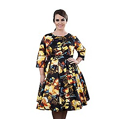 Emily - Multicoloured lauren vintage half sleeve swing dress