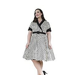 Emily - Cream jasmine retro rockabilly polka dress