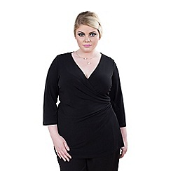 Emily - Black kelsey functional wrap jersey top