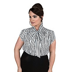 Emily - White brittany pussy bow stripe blouse