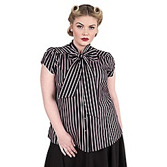 Emily - Pink brittany pussy bow stripe blouse