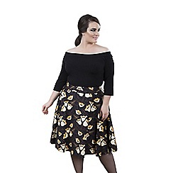 Emily - Navy rebecca 50s round high waist skirt