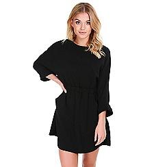 Be Jealous - Black cap sleeved ruched pocket dress
