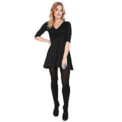 Be Jealous - Black 3/4 sleeves contrast lace skater dress