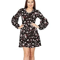 MISSTRUTH - Black floral print v neck bishop sleeve dress