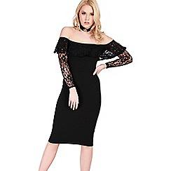 Be Jealous - Black off shoulder lace midi dress