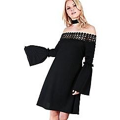 Be Jealous - Black lace off shoulder swing dress