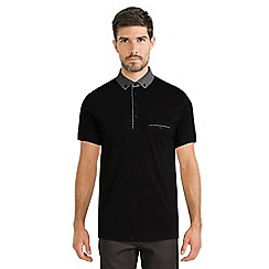 Steel & Jelly - Black polo shirt with abstract print collar