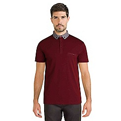 Steel & Jelly - Dark red polo shirt with geo print collar