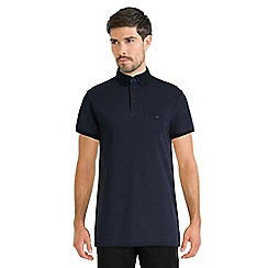 Steel & Jelly - Navy pique polo shirt with textured collar