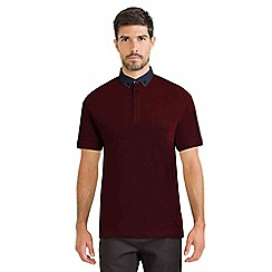 Steel & Jelly - Dark red pique polo shirt with floral geo collar