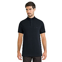 Steel & Jelly - Navy pique jacquard polo with textured collar
