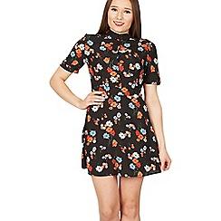 MISSTRUTH - Navy floral print high neck a-line dress