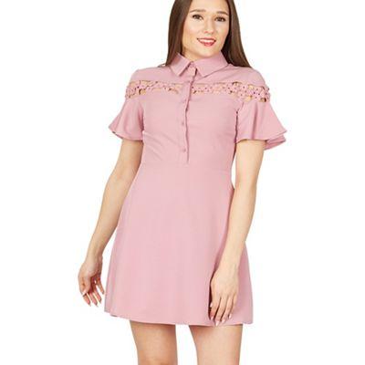 71d2b6eafd547b MISSTRUTH Pink short flared sleeve a-line dress   Debenhams