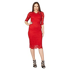 Feverfish - Red lace scallop v neck dress