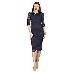Feverfish - Navy lace scallop v neck dress