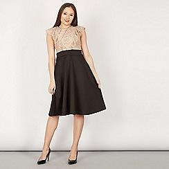 Feverfish - Beige lace contrast pleat frill dress