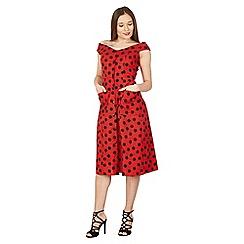 Feverfish - Red polka dot button bardot dress