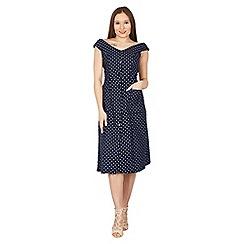 Feverfish - Navy polka dot button bardot dress