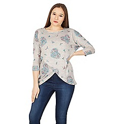 Apricot - Grey floral hearts print crossover top