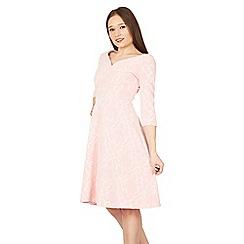 Feverfish - Pink rose flock flared dress
