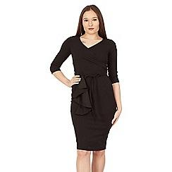 Feverfish - Black wrap frill tie belt dress