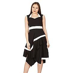 Feverfish - Black contrast asymmetric midi dress