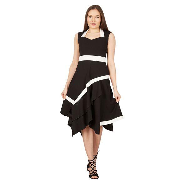 contrast midi Black Feverfish asymmetric dress q5Yw0w