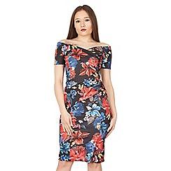 Feverfish - Black off shoulder print dress