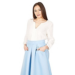 Jolie Moi - Ivory pleated front blouse