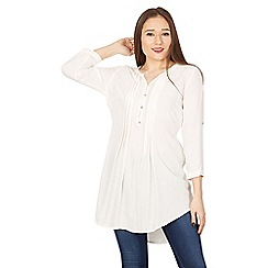 Jolie Moi - White buttom front pleated tunic