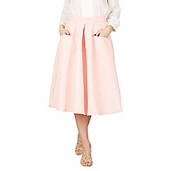 Jolie Moi - Pink pleated a line midi skirt