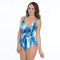 Seaspray - Blue aura print side buckle strapsuit