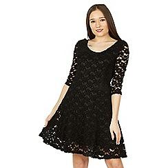 Izabel London - Black 3/4 sleeve lace skater dress