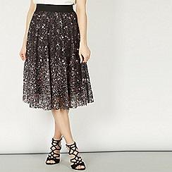 Izabel London - Black floral printed lace midi skirt