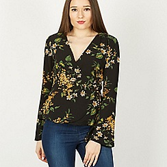 Izabel London - Multicoloured floral print wrap blouse top