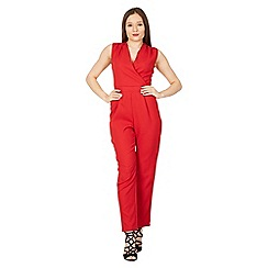 MISSTRUTH - Red cross front tailored jumpsuit