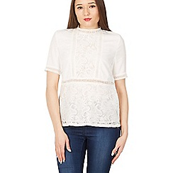 MISSTRUTH - White short sleeve lace detail top