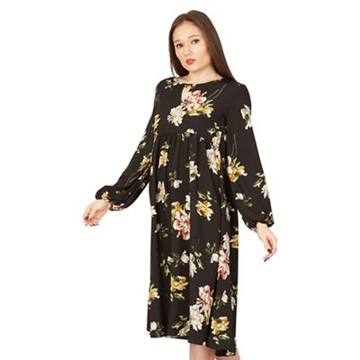Amalie & Amber   Black Floral Midi Dress by Amalie & Amber