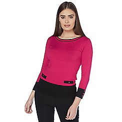 Roman Originals - Pink contrast button knit jumper