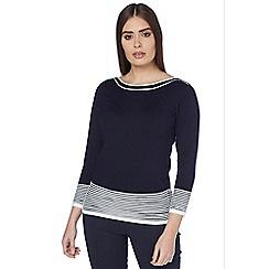 Roman Originals - Navy contrast knit jumper