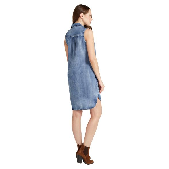 sleeveless denim shirt dress Blue Apricot EqnRx7Fw