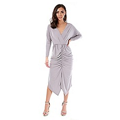 Be Jealous - Grey wrap over long sleeves midi dress